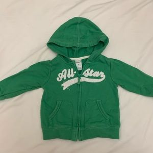 Carter's hoodie all-star green size 9 months